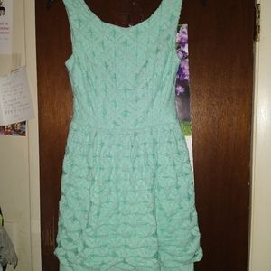Turquoise Pleated Dress